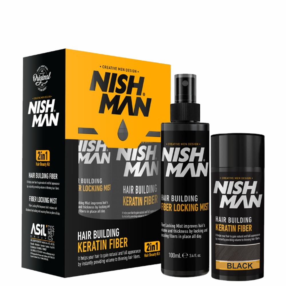 NISHMAN HAIR BUILDING KERATIN FIBER + LOCKING MIST SET BLACK